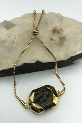 DR Stone Dr Stone Golden Serpantin- Yılan Taşı 22k Altın Kaplama El Yapımı Kadın Bileklik Tkrb12
