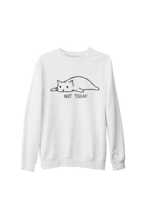 Lord Unisex Beyaz Kedi Baskılı Kalın Sweatshirt