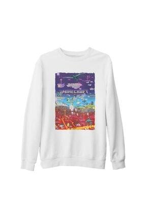 Lord Unisex Beyaz Minecraft World Kalın Sweatshirt