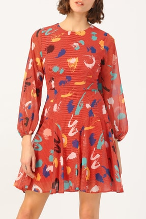 Random Kadın Yuvalak Yaka Kolu Lastikli Desenli Elbise %100 Polyester