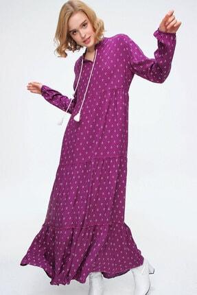 Bigdart Kadın Çapa Mor Volanlı Tesettür Elbise 10313