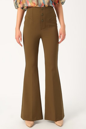Random Kadın Yüksek Belli Ispanyol Paça Pantolon %85 Polyester %15 Elastane