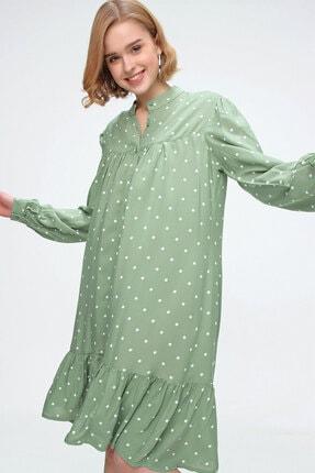Bigdart Kadın Haki Etek Ucu Volanlı Elbise 1982