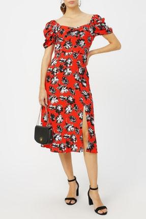 Random Kadın Kol Detaylı Desenli Elbise %58 Vıscon %42 Polyester
