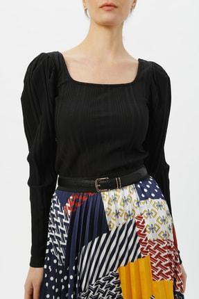 Random Kadın Kol Detaylı Bluz %96 Polyester %4 Elastane