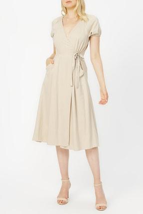 Random Kadın Anvelop Kapama Gipe Detaylı Cepli Elbise %68 Tencel %32 Polyester
