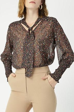 Random Kadın Kolu Gipeli Boyundan Bağlamalı Bluz %100 Polyester
