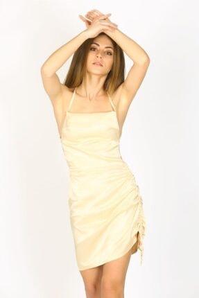 Bsl Kadın Bej Saten Elbise
