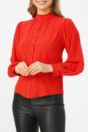 Random Kadın Hakim Yaka Fırfır Detaylı Kırmızı Gömlek %100 Vıscon