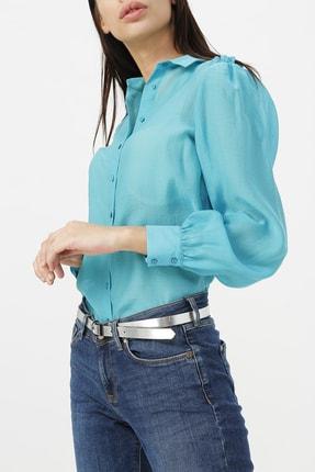 Random Kadın Omuzları Fırfır Detaylı Gömlek %82 Lyocel(Selılozık Lıf) %18 Polyester