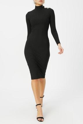 Random Kadın Düğme Deteylı Yarım Balıkçı Midi Elbise %96 Polyester %4 Elastane