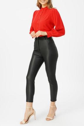 Random Kadın Yüksek Bel Deri Pantolon %53 Polıuretane %47 Vıscon