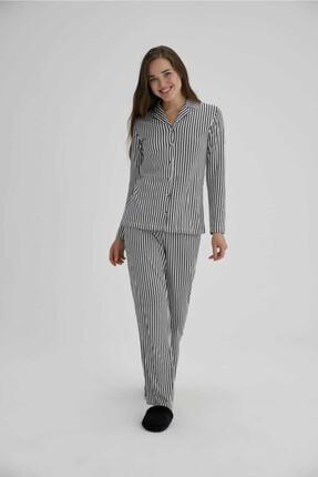 Eros Kadın Siyah Beyaz Çizgili Pijama Takımı 27690