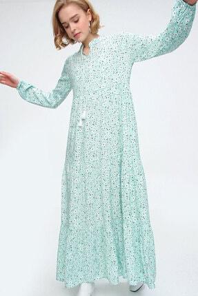 Bigdart Kadın Yeşil Volanlı Elbise 10313