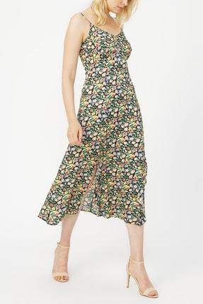 Random Askılı V Yaka Desenli Elbise %100 Vıscon