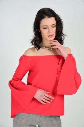 Sense Bluz - Göğsü Lastikli Omzu Acık Uzun Kol Volanlı Bluz | Blz31034 Kırmızı