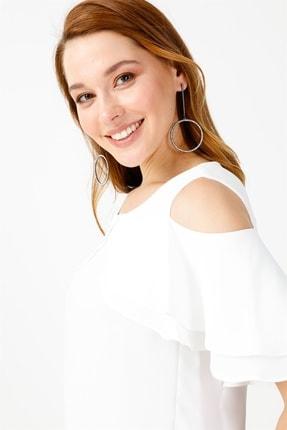 Moda İlgi Kadın Ekru Omuz Açık Kol Fırfırlı Volanlı Bluz