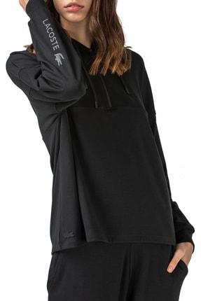 Lacoste Kadın Siyah Yarım Fermuarlı Kapüşonlu Reflektör Baskılı Sweatshirt  Sf0104 04s