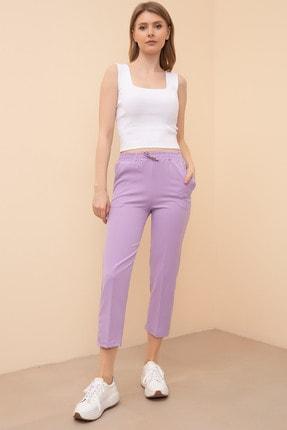 D-Paris Kadın Lila Bel Lastikli Havuç Pantolon