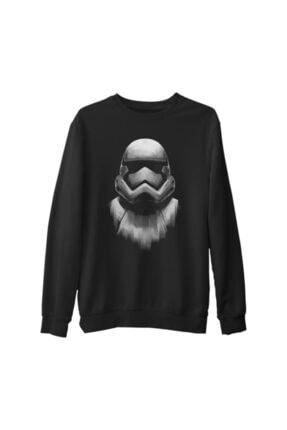 Lord Erkek Siyah Star Wars Storm Trooper Kalın Sweatshirt