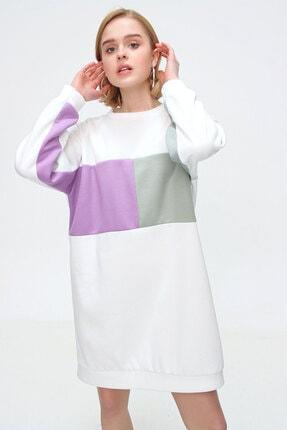 Bigdart Blok Renkli Polarlı Oversize Sweat Elbise 55339