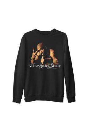 Lord Unisex Siyah Tupac Shakur Kalın Sweatshirt