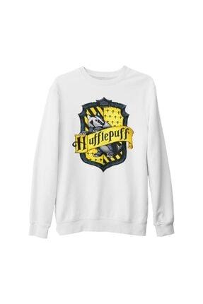 Lord Unisex Beyaz Harry Potter  Hufflepuff Kalın Sweatshirt
