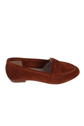 Hobby Kadın Taba Süet Deri Babet Ayakkabı