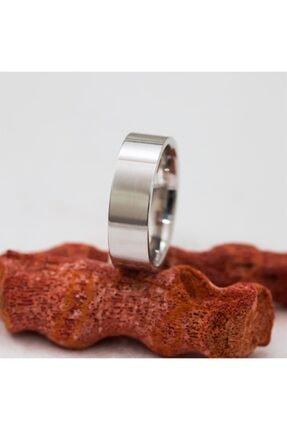 SilverPlus Rodyumlu Düz Kalın Unisex Gümüş Alyans