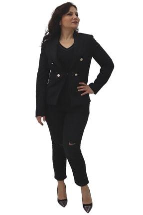 Ayhan Kadın Parlak Düğmeli Siyah Ceket