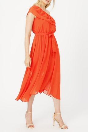 Random Kadın Yakası Volanlı Tek Omuz Şifon Elbise %100 Polyester