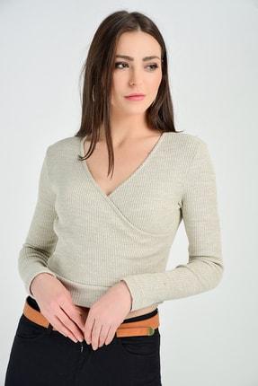 Sense Trıko Kumaş Bluz | Blz14392 Bej