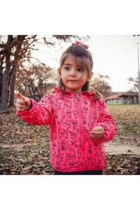 Midimod Kız Çocuk Pembe Yağmurluk Mevsimlik Ceket