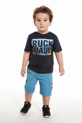 Ruck & Maul Unisex Çocuk Mavi Kargo Şort