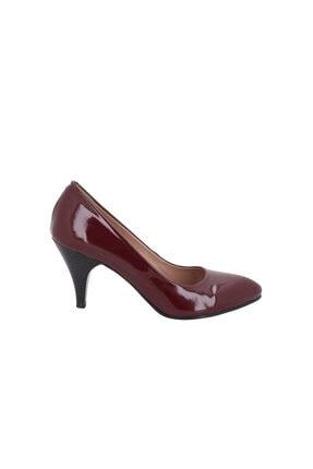 Hobby Bordo Rugan Deri Kadın Topuklu Ayakkabı 090