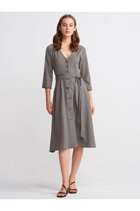 Dilvin Kadın Lacivert Kuşaklı Midi Elbise