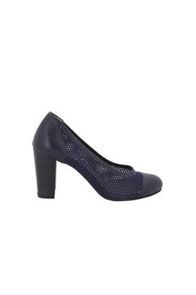 Hobby Lacivert Deri Kadın Topuklu Ayakkabı 0129