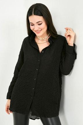 Sateen Kadın Siyah Gofre Kumaş Oversize Gömlek  STN332KGO159