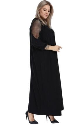 ANGELINO Kadın Siyah Dantelli Uzun Bol Kesim Elbise