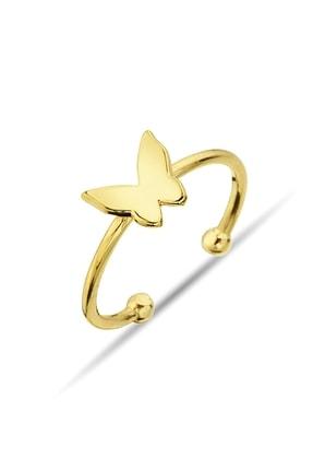 Argentum Concept Altın Kaplamalı Gümüş Kelebek Yüzük - Y013701