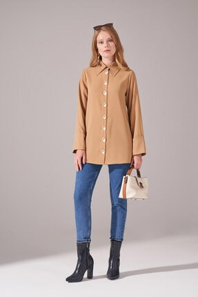 Mizalle Düğmeli Krep Tunik Gömlek (BEJ)