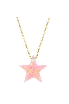 Myra Gold Yıldız Detaylı Pembe Altın Kolye