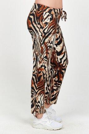 Womenice Kadın Kahverengi Zebra Desen Büyük Beden Tayt