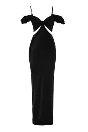 Keikei Siyah Saten Kolsuz Uzun Uzun Elbise
