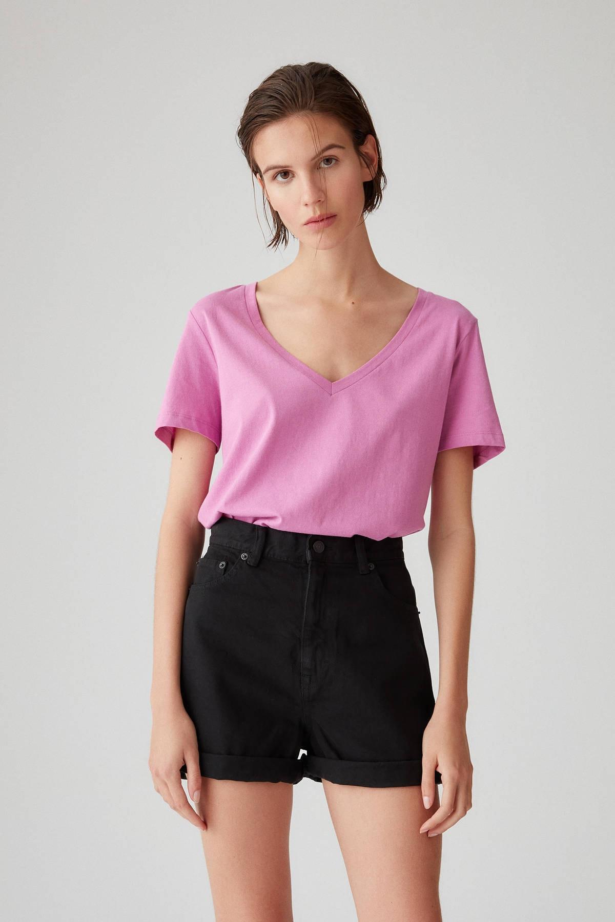 Pull & Bear Kadın Violet V Yaka Pamuklu T-Shirt 05234358