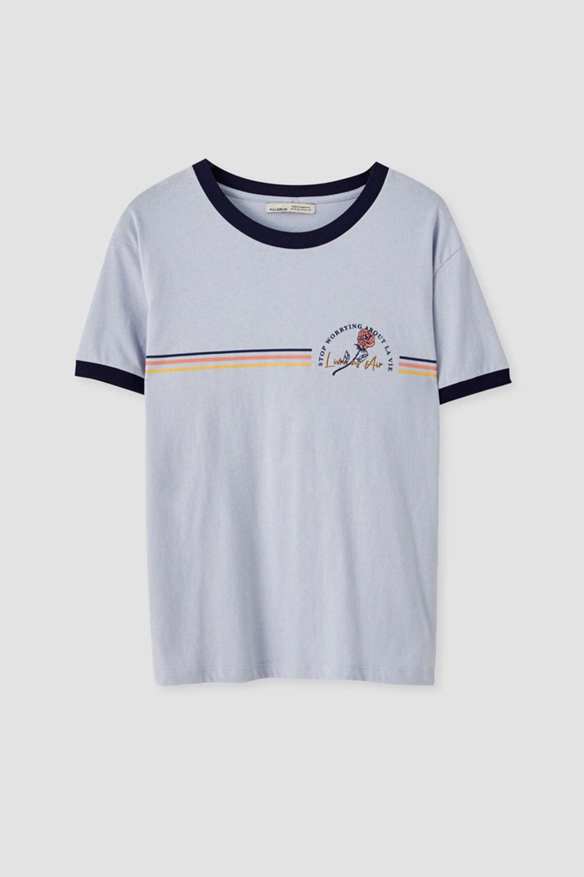 Pull & Bear Kadın Pastel Mavi Gökkuşağı Görselli Fitilli T-Shirt 05236383