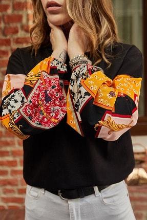 Xhan Kadın Siyah Kolları Desenli Bluz 9yxk2-41840-02