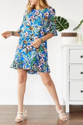 Xhan Kadın Mavi Çiçek Desenli Kısa Elbise 0YXK6-43564-12