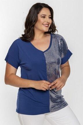 Seamoda V Yaka Ön Kısmı Gümüş Parlak Bluz-mavi