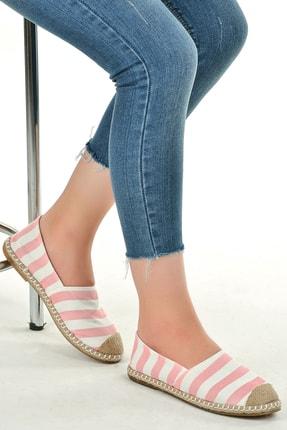 Ayakland Kadın Pembe Favi Günlük Keten Babet Ayakkabı